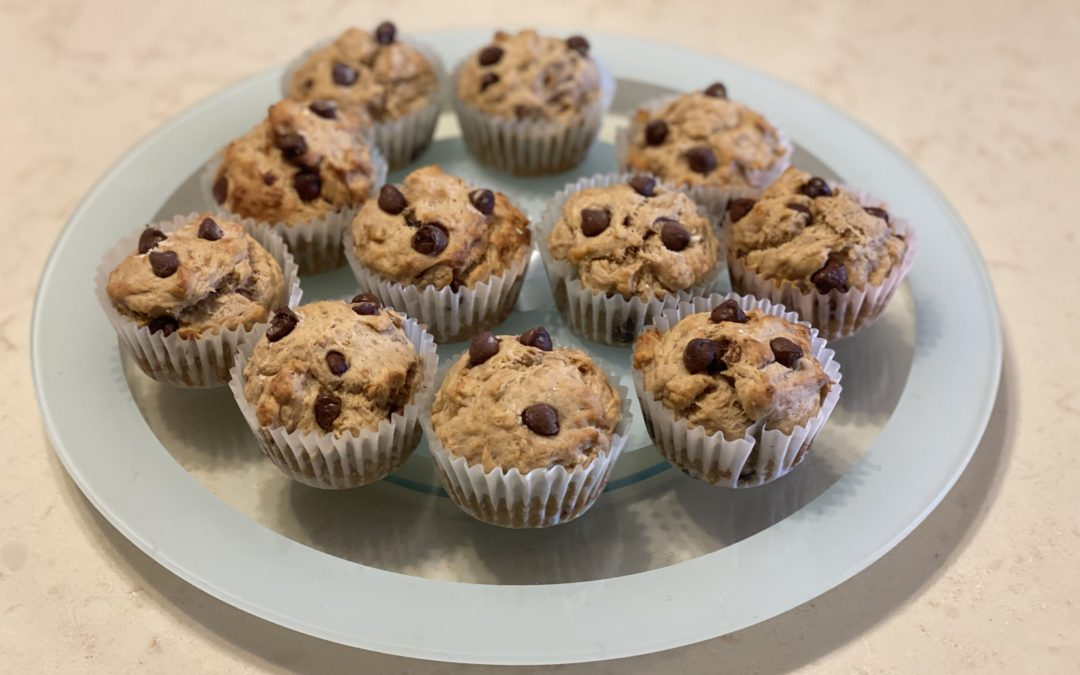 Muffins de banano y chocolate saludables